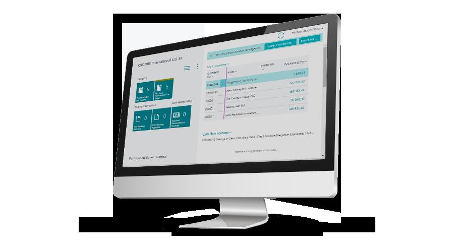 obrazovka business central informacny system